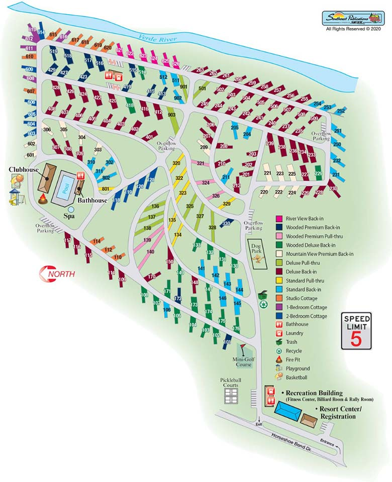 site map for verde river rv & cottages